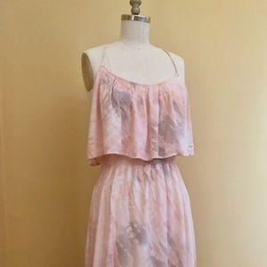 Akiko Tie Dye Tiered Dress in Pale Pink/Blue